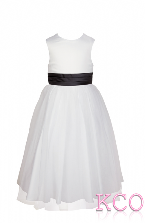 Style FJD922~ Pleat Sash Dress White/Black